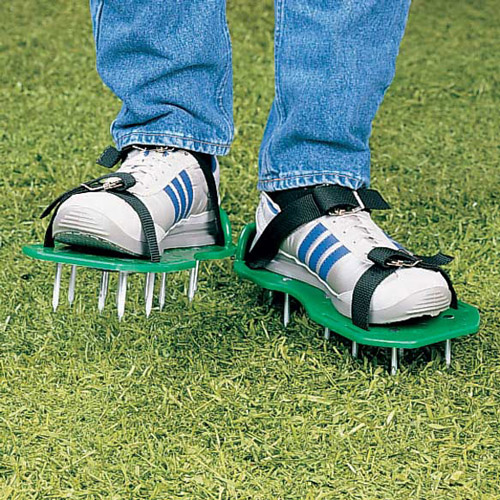 Lawn Aerator Sandals Green Wearing