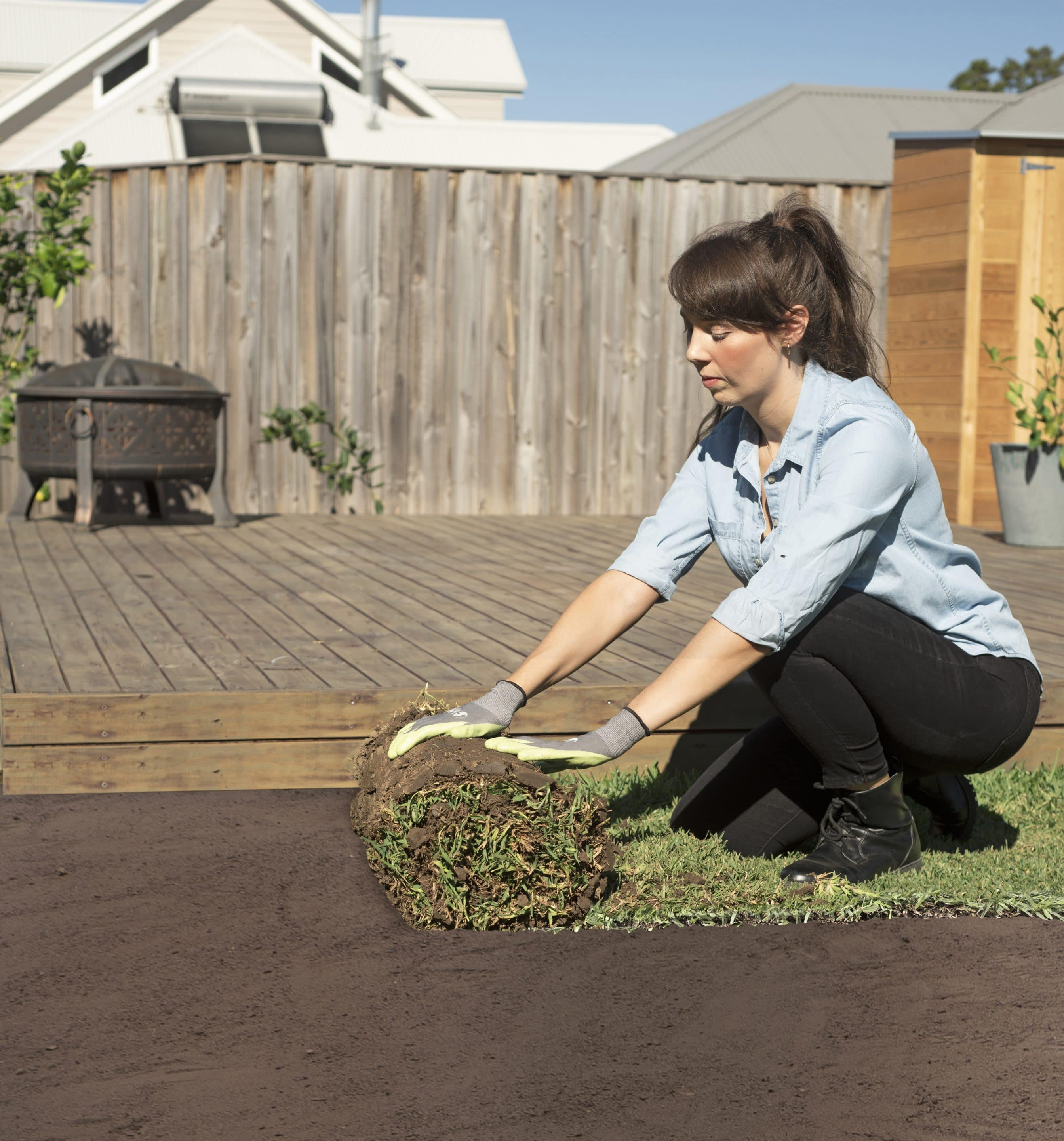 Woman Rolling a new lawn